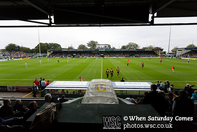 Yeovil Town 0 Queens Park Rangers 1, 21/09/2013. Huish Park, Championship. QPR emerge for the second half. View from the Main stand. Photo by Paul Thompson.