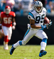 Carolina Panthers wide receiver Steve Smith (89) runs the ball against Kansas City Chiefs during a NFL football game at Bank of America Stadium in Charlotte, NC.