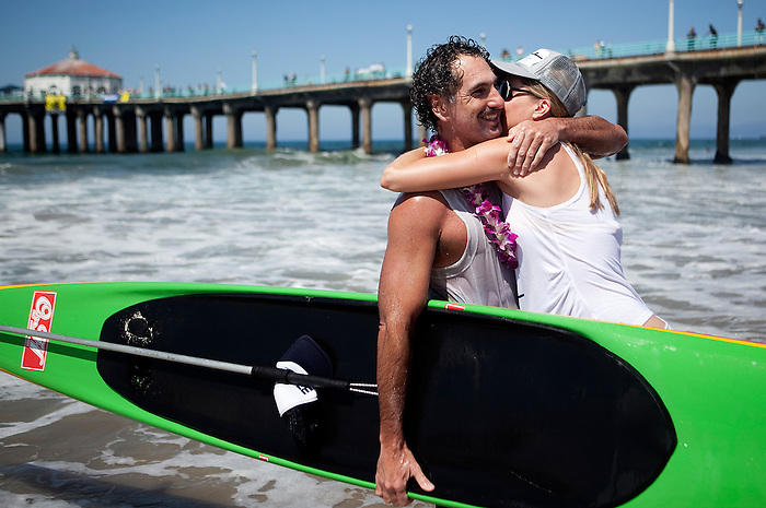 The 32-mile race from Isthmus Harbor on Catalina Island to the Manhattan Beach Pier is one of longest paddle board races in the country and requires almost continuous paddling by hand for 5-9 hours depending on the racer.