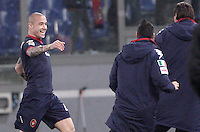 Calcio, Serie A: Roma vs Cagliari. Roma, stadio Olimpico, 1 febbraio 2013..Cagliari midfielder Radja Nainggolan, of Belgium, celebrates after scoring during the Italian Serie A football match between AS Roma and Cagliari, at Rome's Olympic stadium, 1 February 2013. Cagliari won 4-2..UPDATE IMAGES PRESS/Riccardo De Luca