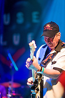 James Burton performs at the 8th annual Ponderosa Stomp, held at the House of Blues in New Orleans on April 28, 2009.<br /> <br /> James Burton is a noted American guitar player from Louisiana, whose first claim to fame was creating the guitar solo on the seminal Dale Hawkins song &quot;Susie Q&quot; but whose achievements did not stop there.  A highly prized studio musician, Burton also went on to record and tour with a number of acts, including Elvis Presley, Rick Nelson, John Denver, and Jerry Lee Lewis among many others.  Burton was inducted to the Rock and Roll Hall of Fame in 2001.  <br /> <br /> The Ponderosa Stomp is an annual music festival held in New Orleans since 2002 that celebrates the uncelebrated names in American musical history.  The festival spotlights musicians who have contributed to the American roots musical canon in various genres, from rockabilly to soul to rock and roll to jazz to experimental.  For two nights of the year these mostly forgotten names perform to an audience of aficionados whose memory has not faded and turn back the clock with blistering performances of the hits that did or (in the case of the regional musicians that plugged away unknown to the world at large, as well as those whose songs were recorded to acclaim by other musicians) did not make them famous.  <br /> <br /> In addition to the two nights of performances the Ponderosa Stomp Foundation (the non-profit founded by the eccentric Dr. Ira Padnos and his coterie of like minded music fanatics the Mystic Knights of the Mau Mau) also produces two days of the Music History Conference, where many of the performers, as well as other music industry names, share stories of their lives in the business.  The Conferences take place in the Louisiana State Museum at the Cabildo in Jackson Square.