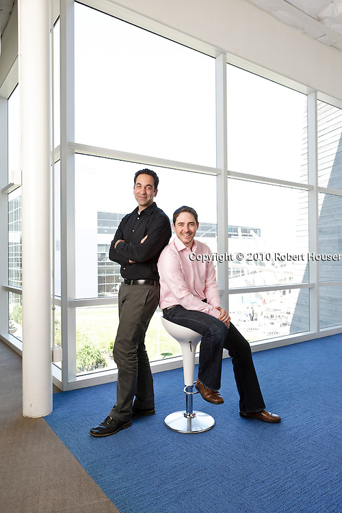 Portraits of Jeff Keltner - product marketing manager, Google Enterprise & Obadiah Greenberg - business development manager, Google Apps for Education Executive portrait photographs by San Francisco Bay Area - corporate and annual report - photographer Robert Houser. 2010 pictures.