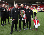 Sheffield United's Paul Mitchell, Josh Farrar and Mike Allen during the League One match at Bramall Lane, Sheffield. Picture date: April 30th, 2017. Pic David Klein/Sportimage