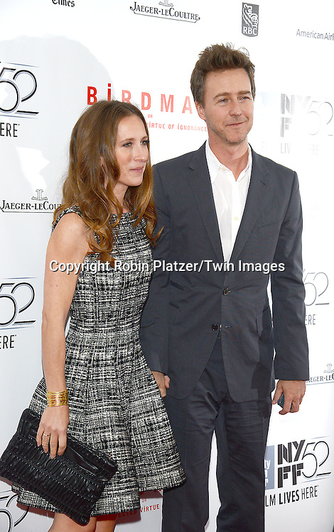 Edward Norton and wife Shauna Robertson attend &quot;Birdman or The Unexpected Virtue of Ignorance&quot; screening at The 52nd New York Film Festival on October 11, 2014 at Alice Tully Hall in New York City.<br /> <br /> photo by Robin Platzer/Twin Images<br />  <br /> phone number 212-935-0770