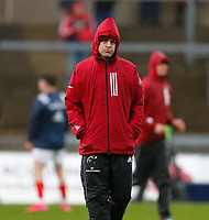 29th February 2020; Thomond Park, Limerick, Munster, Ireland; Guinness Pro 14 Rugby, Munster versus Scarlets; Johann van Graan Munster head coach watches his team warmup prior to kickoff