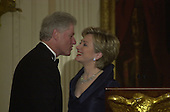 First lady Hillary Rodham Clinton introduces President Bill Clinton at the Kennedy Center Honors reception in the East Room of the White House in Washington, D.C. on Sunday, December 3, 2000..Credit: Ron Sachs / Pool via CNP