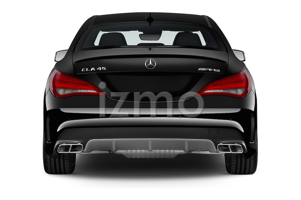 Straight rear view of a 2014 Mercedes Benz CLA Class 45 AMG 4 Door Sedan stock images