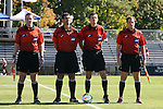 26 October 2014: Match officials. From left: Assistant referee Charles Lester, Fourth official Abbes Mansour-Hafifi, Referee Matthew Franz, Assistant referee Paul Putnam. The Duke University Blue Devils hosted the Boston College University Eagles at Koskinen Stadium in Durham, North Carolina in a 2014 NCAA Division I Women's Soccer match. Duke won the game 2-1 in overtime.