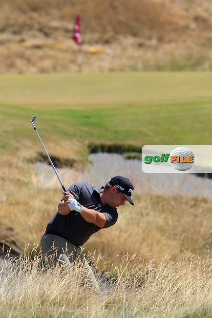 Daniel Summerhays (USA) in the sand for his 3rd shot on the 7th hole during Friday's Round 2 of the 2015 U.S. Open 115th National Championship held at Chambers Bay, Seattle, Washington, USA. 6/19/2015.<br /> Picture: Golffile | Eoin Clarke<br /> <br /> <br /> <br /> <br /> All photo usage must carry mandatory copyright credit (&copy; Golffile | Eoin Clarke)