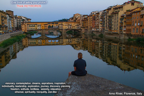 Italy, Florence.  Think Keywords.<br /> Thinking in terms of simple 'keywords' has several advantages. You might use them later to catalog your images in Lightroom, but keywords allow you to explore your images more fully and you might 'see' more in them. Photo buyers and editors use them all the time.<br /> Also, write keywords on a Shot List. This can help inspire you to photograph certain kinds of images.