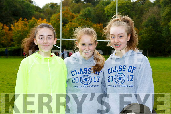 Star of the Laune runners Eimear Ní Shuilleabhain, Roisin Farrell and Ciara Byrne at the Kerry Juvenile Cross Country championships in Killarney on Sunday