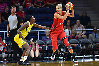 Washington, DC - June 14, 2019: Washington Mystics forward Elena Delle Donne (11) makes a move to the basket during game between Seattle Storm and Washington Mystics at the St. Elizabeths East Entertainment and Sports Arena in Washington, DC. The Storm hold on to defeat the Mystics 74-71. (Photo by Phil Peters/Media Images International)