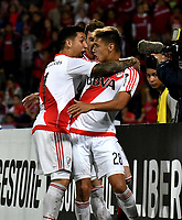 MEDELLIN – COLOMBIA: 15 – 03 - 2017: Los jugadores de River Plate, celebran el tercer gol anotado a Deportivo Independiente Medellin, durante partido de la fase de grupos, grupo 3, fecha 1 entre Deportivo Independiente Medellin de Colombia y River Plate de Argentina por la Copa Conmebol Libertadores Bridgestone 2017 en el Estadio Atanasio Girardot, de la ciudad de Medellin. / The players of River Plate, celebrate the third goal scored to Deportivo Independiente Medellin, during a match for the group stage, group 3 of the date 1, between Deportivo Independiente Medellin of Colombia and River Plate of Argentina for the Conmebol Libertadores Bridgestone Cup 2017, at the Atanasio Girardot, Stadium, in Medellin city. Photos: VizzorImage / Luis Ramirez / Staff.