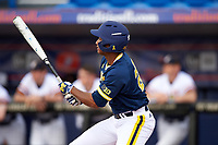 Michigan Wolverines right fielder Johnny Slater (25) at bat during the second game of a doubleheader against the Canisius College Golden Griffins on February 20, 2016 at Tradition Field in St. Lucie, Florida.  Michigan defeated Canisius 3-0.  (Mike Janes/Four Seam Images)