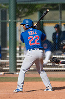 Chicago Cubs center fielder Jeffrey Baez (22) during a Minor League Spring Training game against the Colorado Rockies at Sloan Park on March 27, 2018 in Mesa, Arizona. (Zachary Lucy/Four Seam Images)