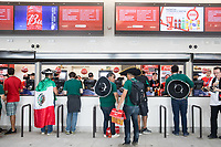 MOSCOW, RUSSIA - June 17, 2018: Fans buy food and drinks before the Germany vs. Mexico 2018 FIFA World Cup group stage match at Luzhniki Stadium.