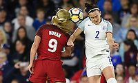Orlando City, FL - Wednesday March 07, 2018: Lindsey Horan, Lucy Bronze during a 2018 SheBelieves Cup match between the women's national teams of the United States (USA) and England (ENG) at Orlando City Stadium.