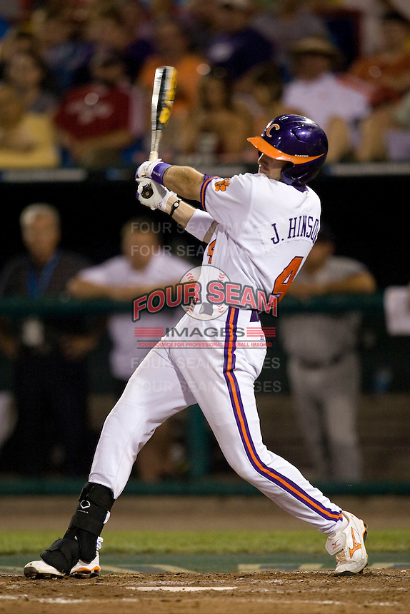 Clemson's John Hinson in Game 12 of the NCAA Division One Men's College World Series on June 25th, 2010 at Johnny Rosenblatt Stadium in Omaha, Nebraska.  (Photo by Andrew Woolley / Four Seam Images)
