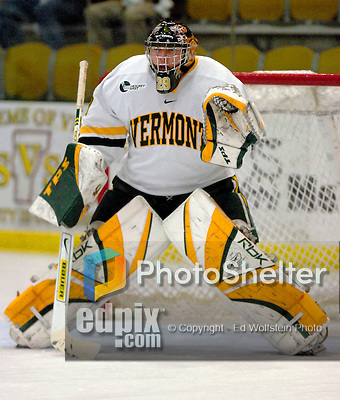 """5 January 2007: University of Vermont goaltender Joe Fallon (29) from Bemidji, MN, warms up prior to a Hockey East matchup against the University of New Hampshire Wildcats at Gutterson Fieldhouse in Burlington, Vermont. The UNH Wildcats defeated the UVM Catamounts 7-1 in front of a record setting 48th consecutive sellout at """"the Gut""""...Mandatory Photo Credit: Ed Wolfstein Photo.<br />"""