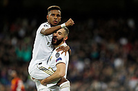 Real Madrid CF's Rodrygo Goes and Real Madrid CF's Karim Benzema celebrates after scoring a goal during UEFA Champions League match, groups between Real Madrid and Galatasaray SK at Santiago Bernabeu Stadium in Madrid, Spain. November, Wednesday 06, 2019.(ALTERPHOTOS/Manu R.B.)<br /> Champions League 2019/2020  <br /> Real Madrid - Galatasaray<br /> Foto Alterphotos / Insidefoto <br /> ITALY ONLY