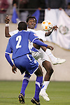 20 March 2008: Marvin Avila (GUA) (right) plays the ball away from Quiarol Arzu (HON) (2). The Honduras U-23 Men's National Team defeated the Guatemala U-23 Men's National Team 6-5 on penalty kicks after a 0-0 overtime tie at LP Field in Nashville,TN in a semifinal game during the 2008 CONCACAF Men's Olympic Qualifying Tournament. With the penalty kick victory, Honduras qualifies for the 2008 Beijing Olympics.