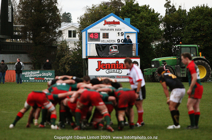 The teams scrummage with 43 seconds left on the clock and the score at 90-19 in Wellington's favou during the Ranfurly Shield rugby match between the Wellington Lions and Wairarapa Bush at Trust House Memorial Park, Masterton, New Zealand on Saturday, 2 July 2008. Photo: Dave Lintott / lintottphoto.co.nz