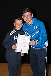 St Johnstone FC Academy Awards Night...06.04.15  Perth Concert Hall<br /> Craig Thomson presents a certificate to Kieran Forber<br /> Picture by Graeme Hart.<br /> Copyright Perthshire Picture Agency<br /> Tel: 01738 623350  Mobile: 07990 594431
