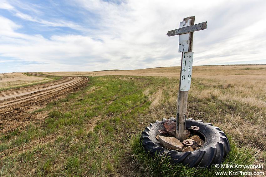 Rural street sign in Montana
