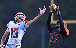 Edwardsville's Ethan Young (right) intercepts a pass intended for West Aurora wide receiver Moshe Rogers in the second quarter. This helped set up an Edwardsville touchdown a couple plays later. Edwardsville defeated West Aurora in a Class 8A second-round playoff football game on Saturday November 3, 2018 at Edwardsville.<br /> Tim Vizer/Special to STLhighschoolsports.com