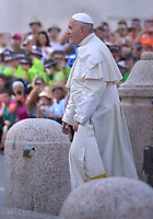 Pope Francis  during his audience to International pilgrimage of ministrants at St Peter' Square  in Vatican City. on July 31, 2018