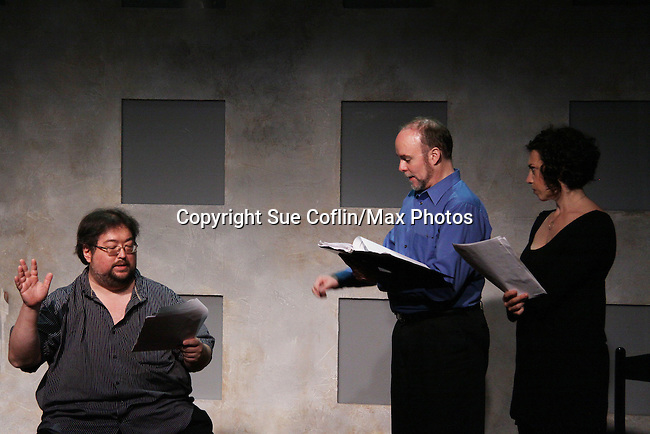"""One Life To Live's Scott Sickles (writer OLTL and Artistic Director WorkShop Theatre Co) along with Richard Kent Green, Cecily Benjamin  in """"Verbatim Verboten - NYC"""" on October 18, 2010 at the WorkShop Theater, NYC. (Photo by Sue Coflin/Max Photos)"""
