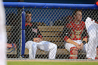 Batavia Muckdogs pitcher Ryan Newell (38) and catcher Chad Wallach (55) sit on the bench during a game against the Aberdeen Ironbirds on August 10, 2013 at Dwyer Stadium in Batavia, New York.  Batavia defeated Aberdeen 1-0 as Newell went 8 hitless innings before giving up a lead off blooper in the ninth.  (Mike Janes/Four Seam Images)