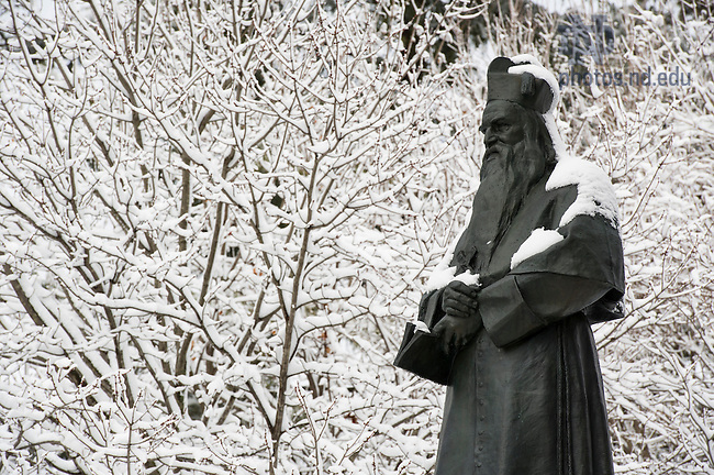 Mar.12, 2014; Statue of Fr. Edward Sorin, in the main quad after snow storm. Photo by Barbara Johnston/University of Notre Dame