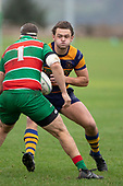 James Brady takes on Michael Raaymakers. Counties Manukau Premier Club Rugby game between Waiuku and Patumahoe, played at Waiuku on Saturday April 28th, 2018. Patumahoe won the game 18 - 12 after trailing 10 - 12 at halftime. <br /> Waiuku Brian James Contracting 12 - Apec Togafau, Nathan Millar tries, Christian Walker conversion.<br /> Patumahoe Troydon Patumahoe Hotel 18 - Vernon Comley, Riley Hohepa tries, Riley Hohepa conversion, Riley Hohepa 2 penalties.<br /> Photo by Richard Spranger