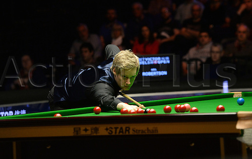 20.02.2016. Cardiff Arena, Cardiff, Wales. Bet Victor Welsh Open Snooker. Mark Allen versus Neil Robertson. Neil Robertson on a break.