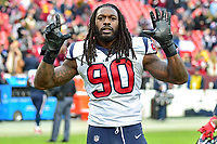 Landover, MD - November 18, 2018: Houston Texans outside linebacker Jadeveon Clowney (90) celebrates winning seven games in a row after defeating the Washington Redskins 23-21 at FedEx Field in Landover, MD. The Texans defeated the Redskins 23-21. (Photo by Phillip Peters/Media Images International)