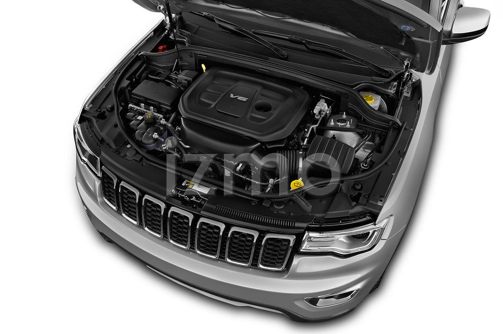 Car stock 2018 Jeep Grand-Cherokee Limited 5 Door SUV engine high angle detail view