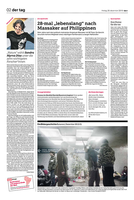die tageszeitung taz (German daily) on the 30th anniversary of the Romanian 1989 revolution. Bucharest, Romania, 12.2019.<br /> Photo: Andrei Pandele