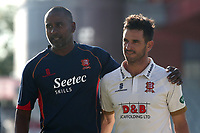 Essex assistant head coach Dimitri Mascherenhas congratulates skipper Ryan ten Doeschate on victory during Lancashire CCC vs Essex CCC, Specsavers County Championship Division 1 Cricket at Emirates Old Trafford on 11th June 2018