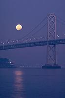 Lunar Eclipse<br /> San Fransisco-Oakland Bay Bridge<br /> Yerba Buena Island<br /> San Fransisco, California