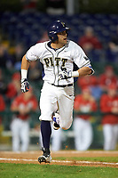 Pitt Panthers right fielder Frank Maldonado (3) during a game against the Ohio State Buckeyes on February 20, 2016 at Holman Stadium at Historic Dodgertown in Vero Beach, Florida.  Ohio State defeated Pitt 11-8 in thirteen innings.  (Mike Janes/Four Seam Images)