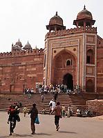 Fatehpur Sikri, Uttar Pradesh, India.  Shahi Darwaza, the Eastern Gate into the Jama Masjid, or Dargah Mosque Complex.