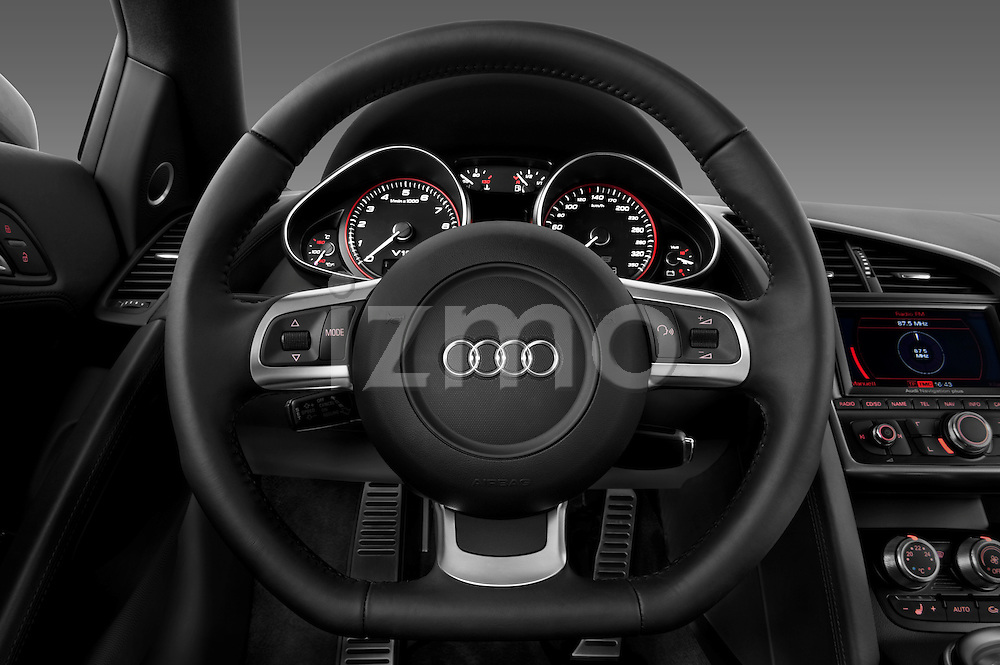 Steering wheel view of a 2009 - 2012 Audi R8 V10 FSI Coupe.