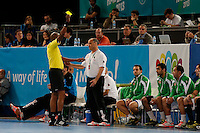 15.01.2013 World Championshio Handball. Match between Algeria vs Egypt (24-24) at the stadium La Caja Magica. The picture show Salah Bouchekriou (Coach of Algeria)