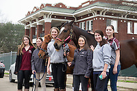 Mississippi State Eventing Team with horses outside George Hall.<br />  (photo by Megan Bean / &copy; Mississippi State University)