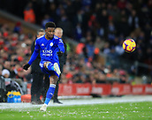 30th January 2019, Anfield, Liverpool, England; EPL Premier League football, Liverpool versus Leicester City; Demarai Gray of Leicester City plays a long diagonal pass
