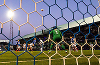 Adebayo Akinfenwa of Wycombe Wanderers scores the winning goal during the FA Cup 1st round match between Portsmouth and Wycombe Wanderers at Fratton Park, Portsmouth, England on the 5th November 2016. Photo by Liam McAvoy.