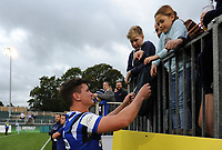 Freddie Burns of Bath Rugby signs autographs after the match. Gallagher Premiership match, between Bath Rugby and Gloucester Rugby on September 8, 2018 at the Recreation Ground in Bath, England. Photo by: Patrick Khachfe / Onside Images