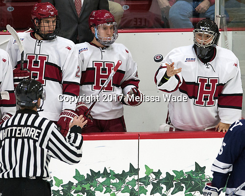 Jacob Olson (Harvard - 26), Viktor Dombrovskiy (Harvard - 27), Sihak Lee (Harvard - 1) - The Harvard University Crimson tied the visiting Yale University Bulldogs 1-1 on Saturday, January 21, 2017, at the Bright-Landry Hockey Center in Boston, Massachusetts.