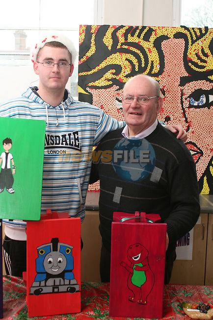 Organiser, Stefan Byrne with his uncle Eugene Byrne of SVDP at the Drogheda Youthreach Craft Fair and Coffee Morning in aid of St Vincent De Paul and the Order of Malta...Photo NEWSFILE/Jenny Matthews.(Photo credit should read Jenny Matthews/NEWSFILE)....This Picture has been sent you under the condtions enclosed by:.Newsfile Ltd..The Studio,.Millmount Abbey,.Drogheda,.Co Meath..Ireland..Tel: +353(0)41-9871240.Fax: +353(0)41-9871260.GSM: +353(0)86-2500958.email: pictures@newsfile.ie.www.newsfile.ie.FTP: 193.120.102.198.